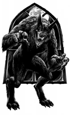 """Оборотень. Иллюстрация Мартина МакКены к книге """"Вой оборотня"""" из серии """"Fighting Fantasy"""""""