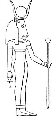 Богиня Хатхор в облике женщины с головой коровы. Прорисовка храмового барельефа