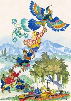 Птица Кахка. Иллюстрация Николая Кочергина к таджикской сказке