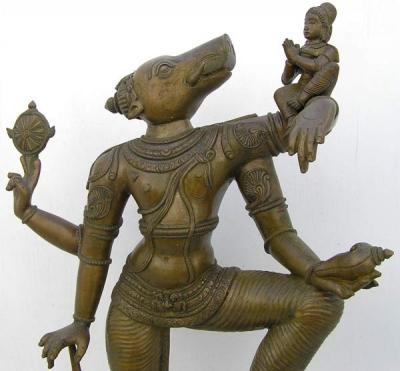 Бронзовая статуэка Варахи, вепреголовой аватары Вишну