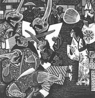"""Веер Тэнгу. Иллюстрация Геннадия Калиновского к японской сказке """"Брат и сестра"""""""