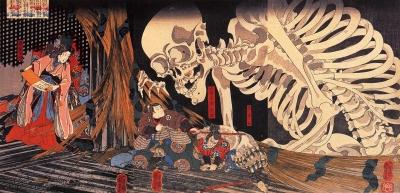 Призрачный скелет, которым Такияся-химэ пытается напугать врагов. Гравюра Утагавы Куниёши