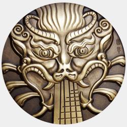 Цюню на современном металлическом медальоне-монете