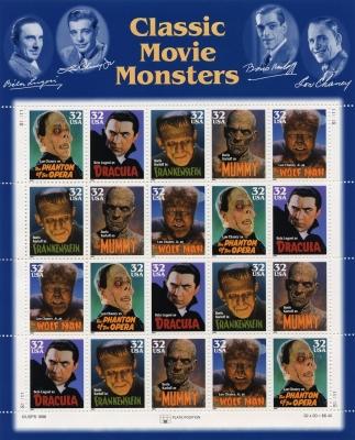 Монстры классического кинематографа на марках США
