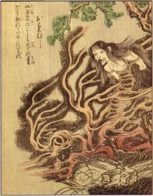 "Окику-муси. Рисунок Такэхары Сюнсэна из ""Ehon Hyaku monogatari"""