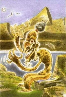 """Аку-Аку. Иллюстрация из книги """"Guía Mitológica Ilustrada de Chile"""" (2007)"""
