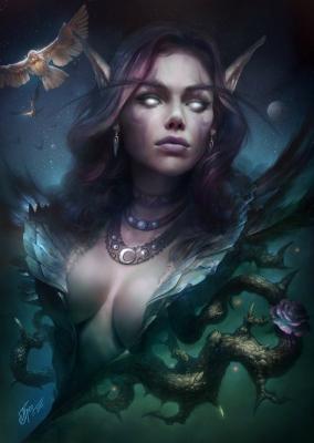 Темная эльфийка. Иллюстрация Дмитрия Прозорова