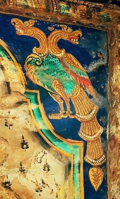 Гандаберунда. Декоративный орнамент на потолке храма Брахадисвара (Танджавур, Индия)