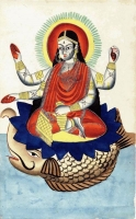 Богиня Ганга на макаре. Картинка XIX века из Калькутты