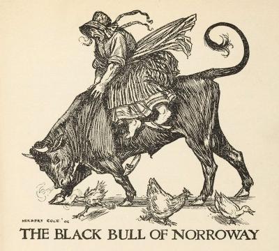 Чёрный бык Норроуэйский. Иллюстрация Херберта Коула (1906)