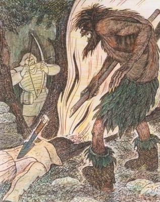 Пера-богатырь и Ворса. Иллюстрация Аркадия Мошева