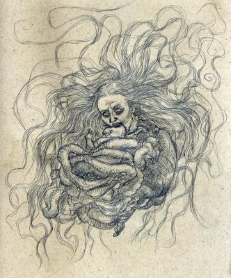 "Пенанггалан с жертвой. Рисунок Курта Комода (Kurt ""TickleMeCthulhu"" Komoda)"