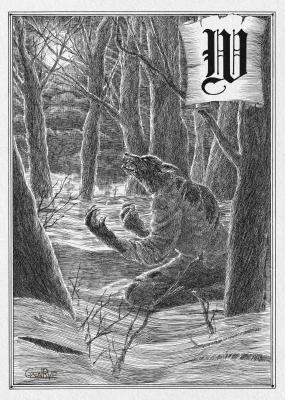 Вервольф или оборотень. Иллюстрация Юлии Широниной (CoalRye)