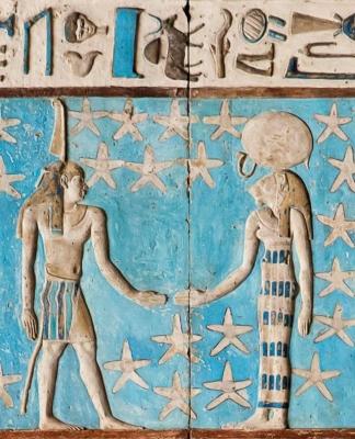 Честование Тефнут и Шу. Барельеф из храма Хатхор в Дендере, Египет