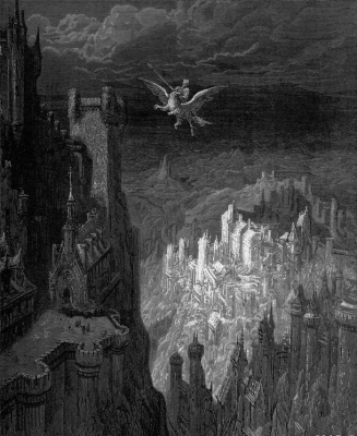 """Астольфо пролетает над многими странами на гиппогрифе. Иллюстрация Гюстава Доре к поэме """"Неистовый Роланд"""""""