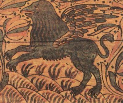 Мифический зверь грифон — хранитель золота и серебра. Роспись сундука. Великий Устюг, XVII век