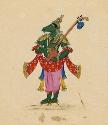 Гандхарв Тумбуру — лучший из божественных певцов в индийской мифологии. Рисунок гуашью, около 1820 года