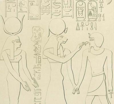 Богини Хатхор и Сехмет с фараоном Тутмосом II. Изображение на пилоне в храме Карнака
