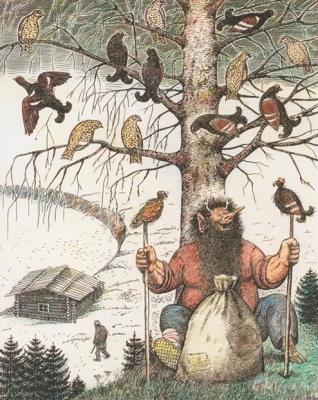 Охотник и Ворса. Иллюстрация Аркадия Мошева