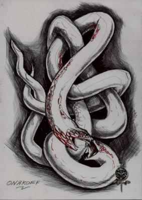 Гадюка (Vipera). Иллюстрация Ивана Онякова к бестиарию Сапковского
