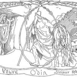 Вёльва, Один, Слейпнир и Гарм на рисунке Лоренса Фрёлиха