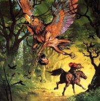 "Tica the Birdman (Oku-Tori). Иллюстрация Ангуса МакБрайда для выпуска ""Forest of Tears"" РПГ-сеттинга ""Middle-earth Role Playing"""
