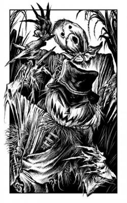 """Ожившие Пугала. Иллюстрация Мартина МакКены к книге """"Вой оборотня"""" из серии """"Fighting Fantasy"""""""