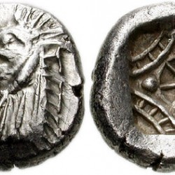 Голова морского чудовища Кето (кита) на монете из Карии