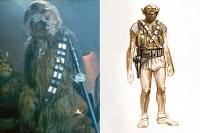 """Ранний концепт (справа) и окончательный вариант облика Чубакки из киновселенной """"Звездных войн"""""""