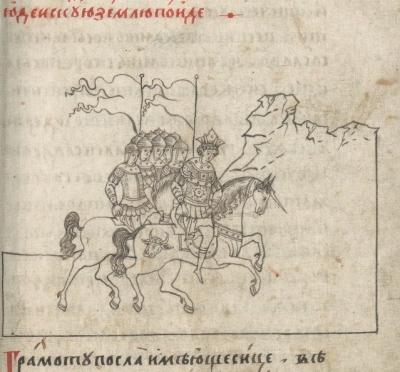 "Александр Македонский на единороге. Миниатюра ""Александрии"", XVII век"