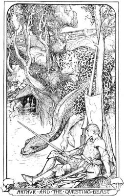 """Артур и Зверь Рыкающий. Иллюстрация Г.Дж.Форда к """"Легендам Круглого Стола"""" Эндрю Лэнга (1904)"""