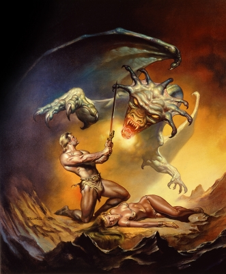 Убийца дракона. Картина Бориса Валледжо (1989)