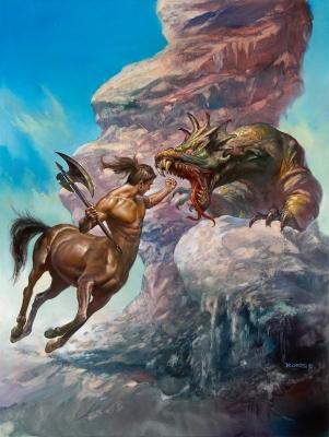 Кентавр и дракон. Картина Бориса Валледжо (2011)