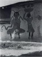 Бака (слева), идущий рядом с мачанн или базарной торговкой. Роспись стены в Байне, Гаити