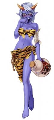 """Синий Они (アオオニ). Иллюстрация Кенкоу Кросс из его """"Monster Girl Encyclopedia"""""""