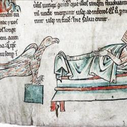 Харадр смотрит на больного. (Рукопись Бодлеянской библиотеки. MS. Bodley 602, fol. 001v)