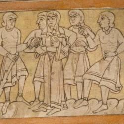 Люди, которые предлагают своих жён гостям. Рукопись Бодлеянской библиотеки (MS. Bodley 614, fol. 046r.)