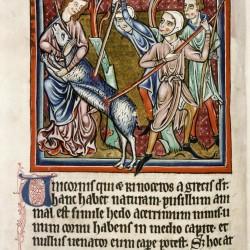 Охотники убивают единорога. (Рукопись Бодлеянской библиотеки. MS. Bodley 764, fol. 010v)
