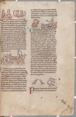 Огненные камни, серра, харадр, пеликаны. Рукопись библиотеки Паркера (CCC, Ms.22, fol.166r.)