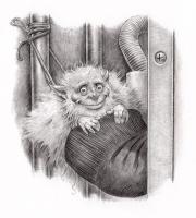 """Носочный воришка. Иллюстрация Дугласа Каррела (Douglas Carrel) из книги """"Hobgoblins"""""""