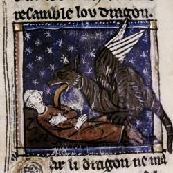 Дракон лижет жертву. Рукопись Бодлеянской библиотеки MS Douce 308, fol.104v.