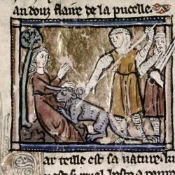 Охотники, убивающие единорога. (Рукопись Бодлеянской библиотеки MS Douce 308, fol.094r.)