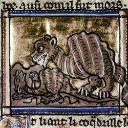Гидрус приманивает крокодила, прикинувшись спящим. Рукопись Бодлеянской библиотеки MS Douce 308, fol.099v.
