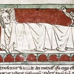 Харадр смотрит на больного. Рукопись Бодлеянской библиотеки (MS Douce 88, fol.018r.)