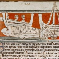 Моряки на аспидохелоне. Рукопись Бодлеянской библиотеки (MS Douce 88, fol.028r.)