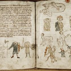 Чудовищные племена. Рукопись Бодлеянской библиотеки (MS Douce 88, fol.69v-70r.)