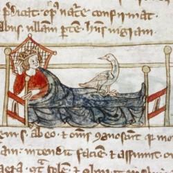 Харадр смотрит на больного. Рукопись Бодлеянской библиотеки (MS Douce 88, fol.100r.)
