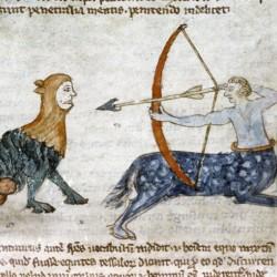 Кентавр стреляет из лука в гротескное существо. Рукопись Бодлеянской библиотеки (MS Douce 88, fol.115r.)