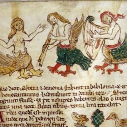 Сирены поют и играют на музыкальных инструментах. Рукопись Бодлеянской библиотеки (MS Douce 88, fol.138v.)