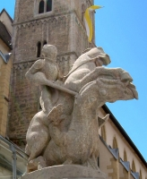 Статуя Георгия Победоносца у кирхи-костела Андрея Первозванного в Оксенфурте